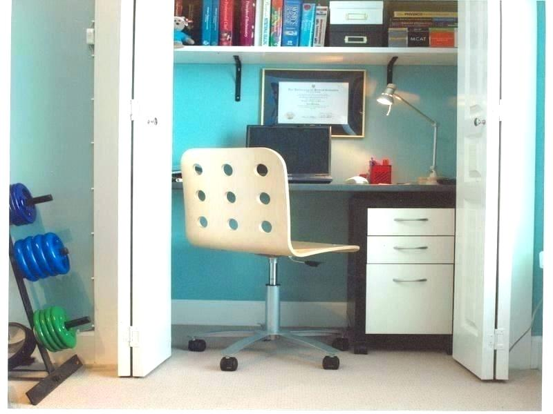 small home office in closet