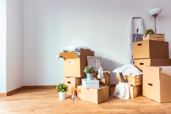 packing boxes filled with home items