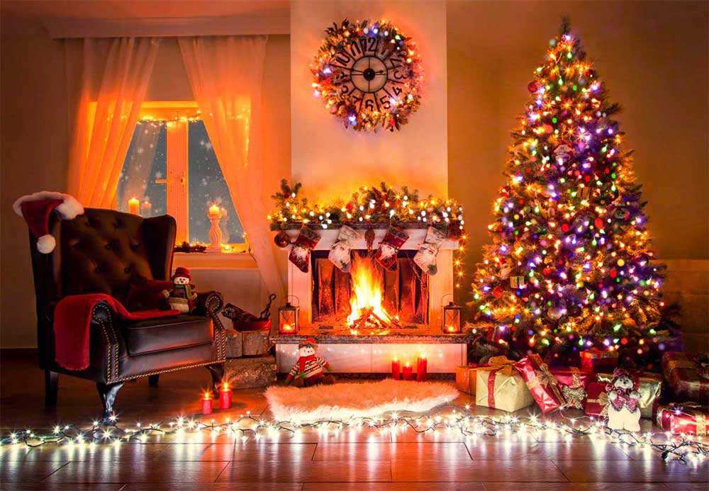 Living room with christmas tree and lounge chair