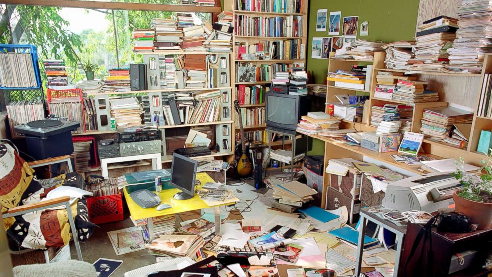 Clutter filled living room