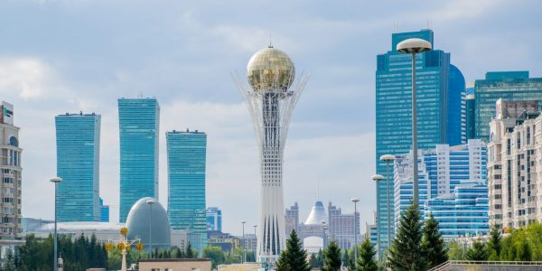 the Baiterek Tower in Kazakhstan on a sunny morning
