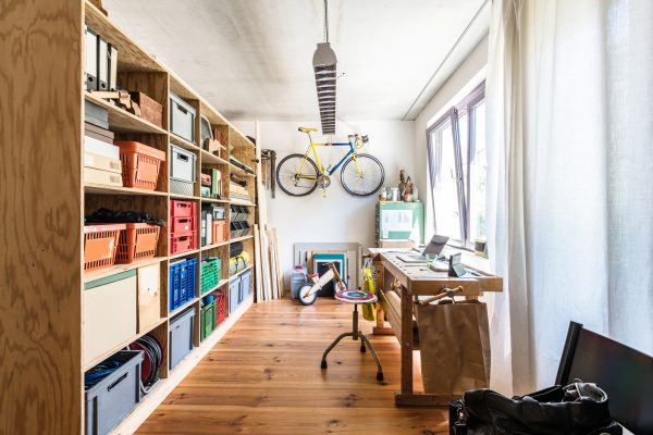 creative home office room in modern family house in Berlin