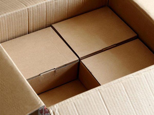 small cardboard boxes inside a big cardboard box